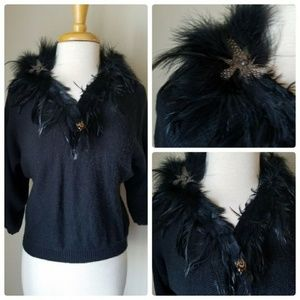Organically Grown Sweaters Black Feather V-Neck